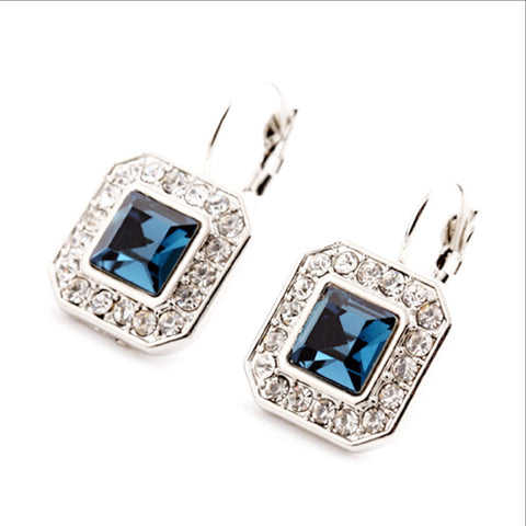 Blue Geometric Rhinestone Crystal Drop Earrings