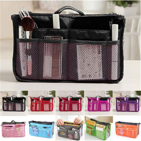 MULTIPURPOSE AND MULTIFUNCTIONAL WOMEN MAKEUP ORGANIZER HANDBAG WITH TRAVEL LINER