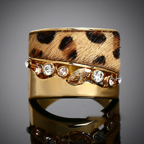 18K Gold  Plated Leopard Print Fur Ring