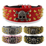 Skull Spiked Studded Leather Dog Collar With 2 inch Width