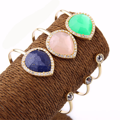 Adjustable Cuff Bracelet With Beautiful Stones covered in Rhinestones