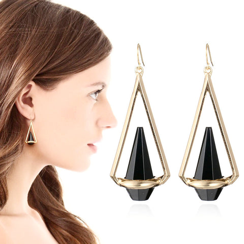 Triangle Clear Black Crystal Dangle Earrings
