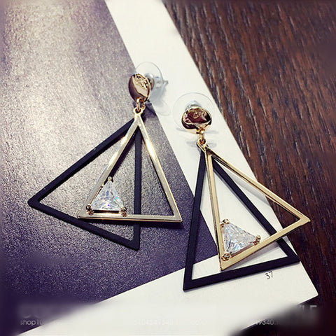 Double Triangle Dangle Earrings