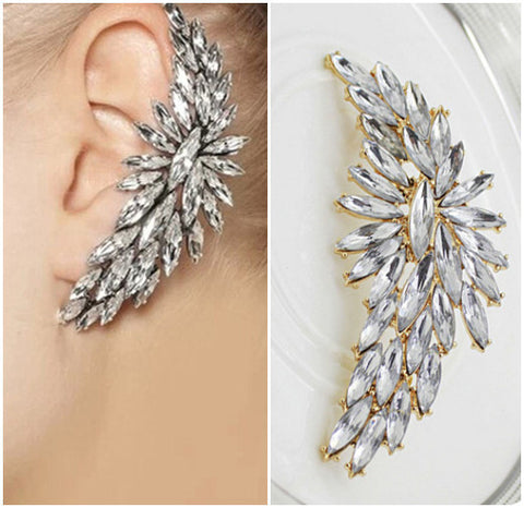 Charming Boho Crystal Drill Ear Cuff Clip On Earrings