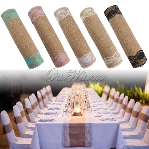 30*270cm Vintaget Rustic Burlap Table Runner Lace Table Cloth