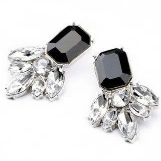 Black & Clear  Squared Drop Earrings