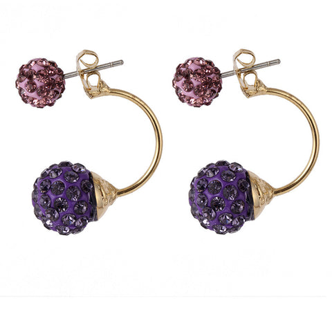 Crystal Rhinestone Two Sphere Shambhala  Earrings
