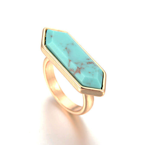 18K Gold Plated  Geometric Arrow Shape Turquoise White Faux Marble Stone Ring