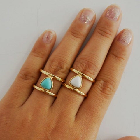 Gold Triangle Blue White Turquoise Stone Tube Rings Bohemian Style