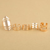 5pc Set Geometric punk style Rings Stackable
