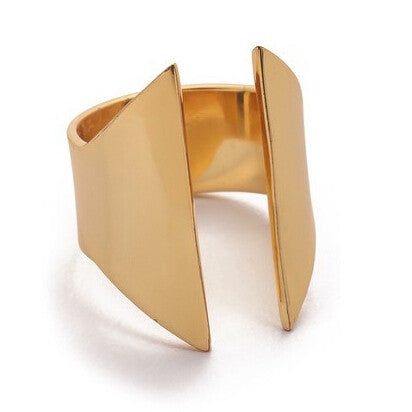 Gold Plated Geometric Open Mouth Ring For Women