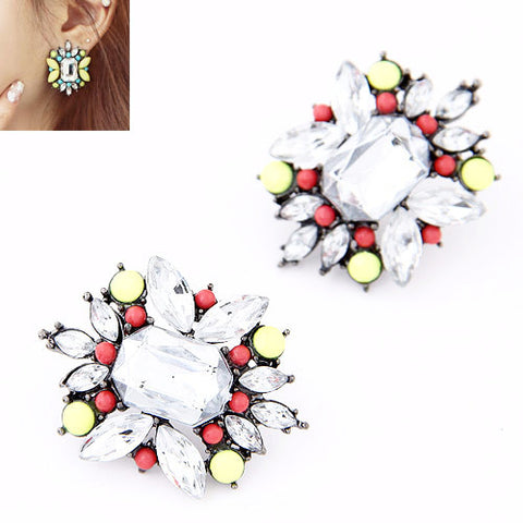 Crystal Big Flower Stud Earrings