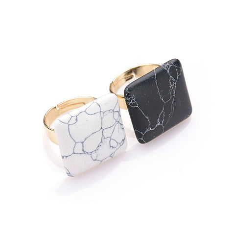 Adjustable Geometric Black Faux White Marble Stone Square Cocktail Ring
