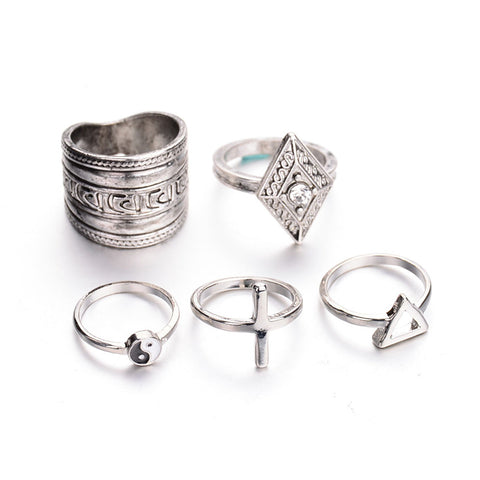Set of 5pcs Antique Silver Retro Vintage Geometric Triangle Cross Tube Ring Set
