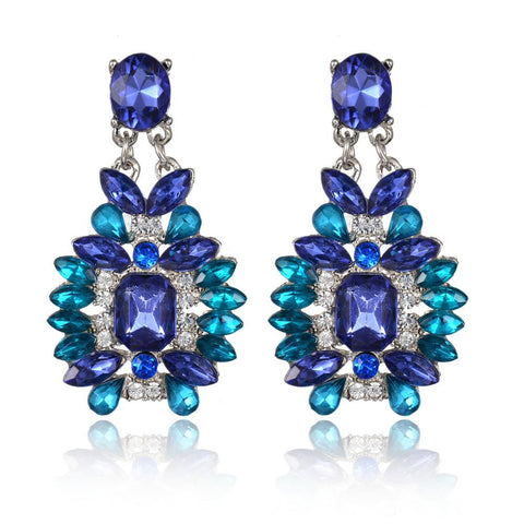 Blue Rhinestone Chandeliers Sparking Created Emerald Crystal Dangle Earrings