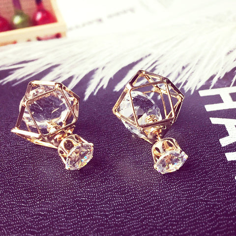 Contracted Geometric Alloy Hollow Stud Earrings Double Side