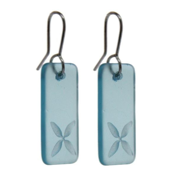 Pacific Tapa Earrings (Blue Glass)