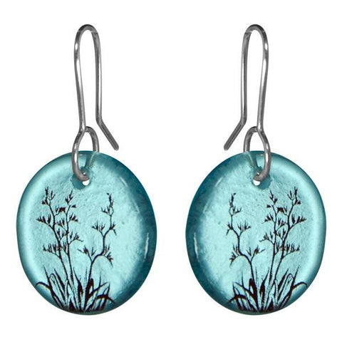 Flax / Harekeke Earrings (Blue Glass)