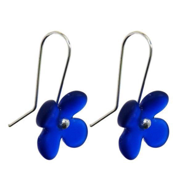 Hydrangea Flower Earrings (Dark Blue Glass)