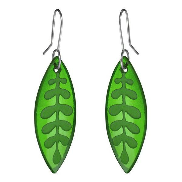 Kowhai Leaf Earrings (Green Glass)