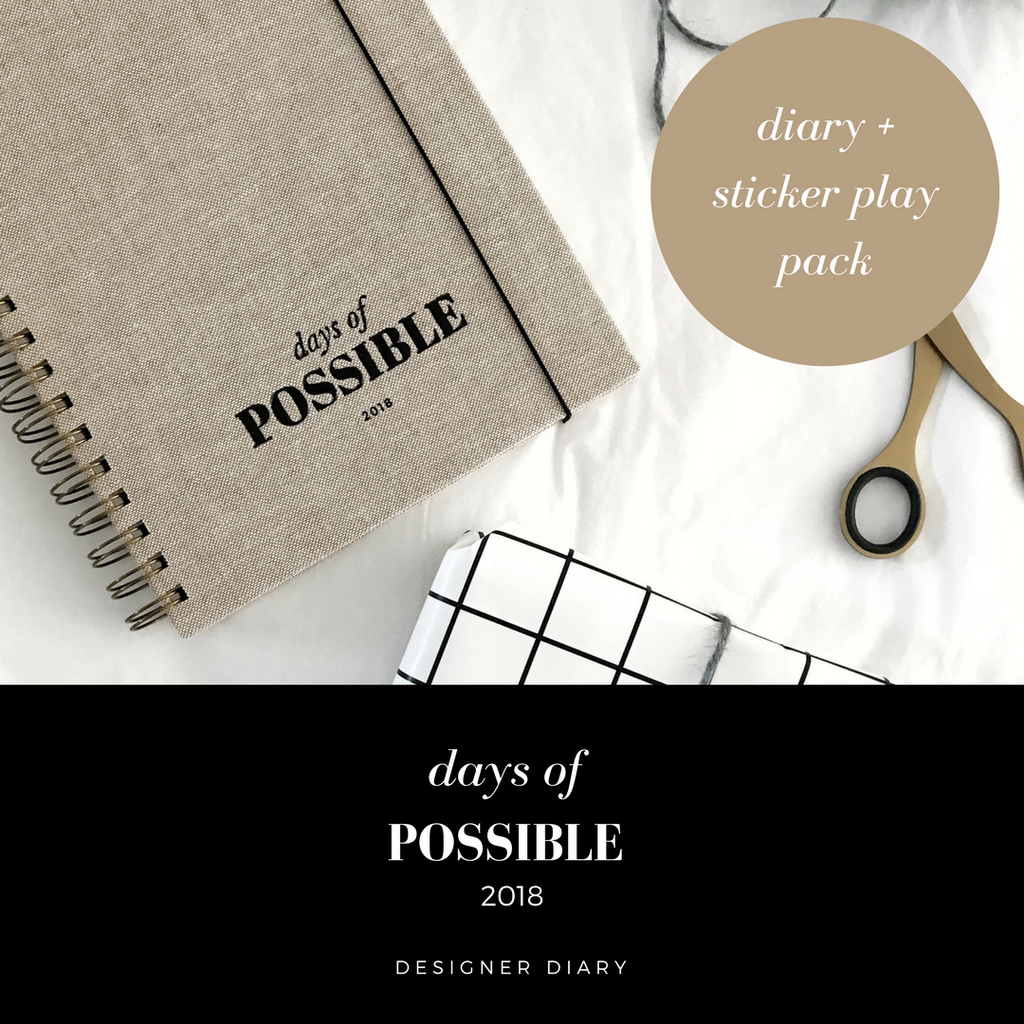 2018 Diary Days of Possible Unique Designer Diary with sticker pack