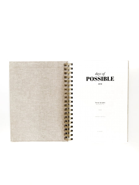 2018 Day of Possible Diary Inside Linen Cover