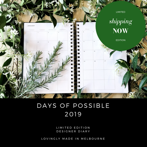 2019 Diary weekly and monthly view. Simple, minimalist, limited edition, eco-friendly, designer.