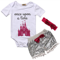 0-24M Newborn Baby Girl Clothing Top Short Sleeve Romper Sequin Shorts Headband Cute Outfits Set Clothes Baby Girls