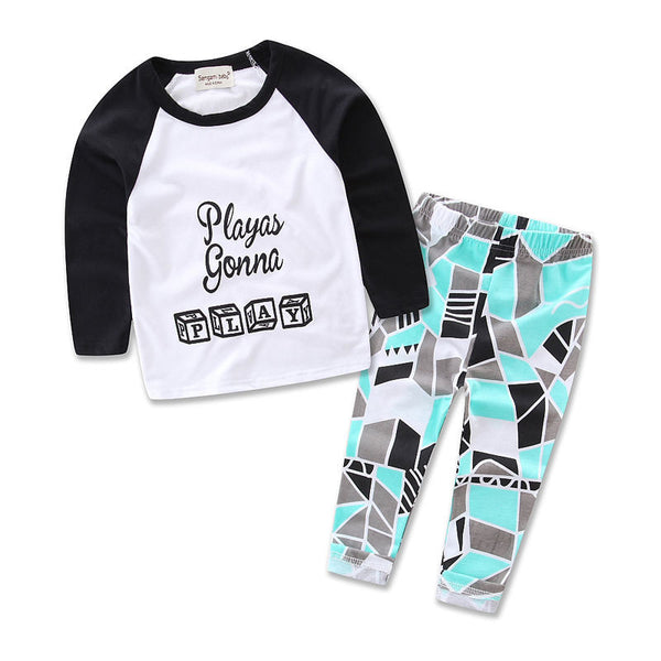 0-3Y Newborn Toddler Baby Boy Girl Clothes Casual Letter Print T-shirt Top + Pant 2pcs Outfit Bebek Giyim Kids Clothing Set