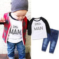 1-7Y Toddler Baby Boys Clothes Little MAN Long Sleeve Cotton T-shirt Top Denim Pants 2PCS Outfits Casual Kids Clothing Set