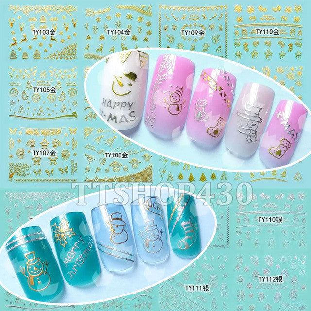 1 Lot = 12 Sheets Christmas 3D Nail Art Gold Silver Sticker Decal X'mas Stickers DIY Tool Snowflake Tree Snowman TY103-114
