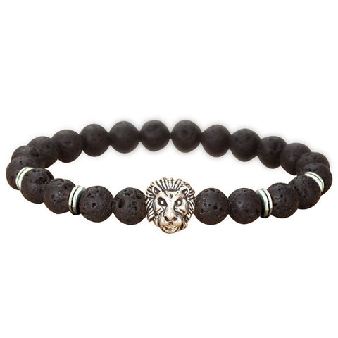 1 Men's Fashion Black Lava Stone Gold&Silver Lion Beaded Charm Bangle Bracelet