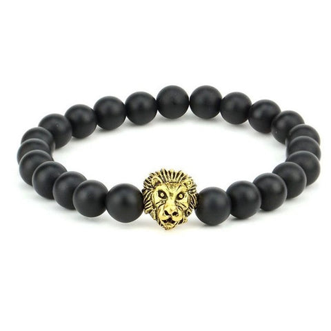 1 New Men's Black Matte Agate Stone & Golden Lion Head Bracelet 8mm Beads