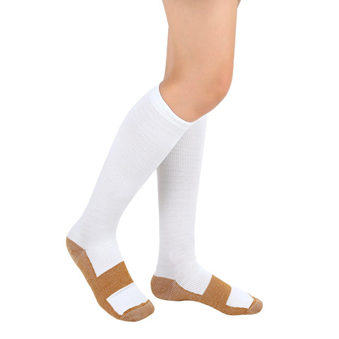 1 Pair Copper Compression Socks Knee High Men and Women Support Pain Relief Stockings Relieves Varicose and Swollen Ankles Sock