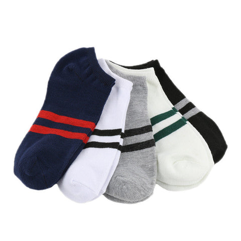 1 Pair Fashion Casual 2 Striped Mens Short Ankle Crew Cotton Low Cut Socks 5 Colors