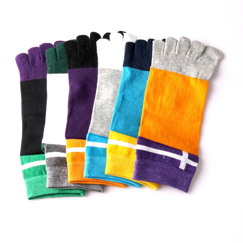 1 Pair Men's Combed Cotton Five Toes Cross Ankle Socks breathable Casual