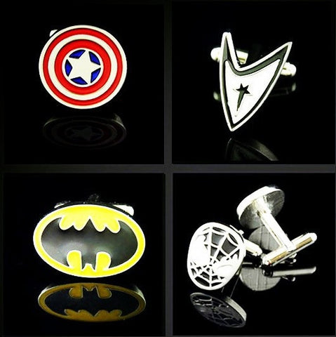 1 Pair Metal Superhero Cuff Link Superman Spider-Man Iron Man Batman Captain America