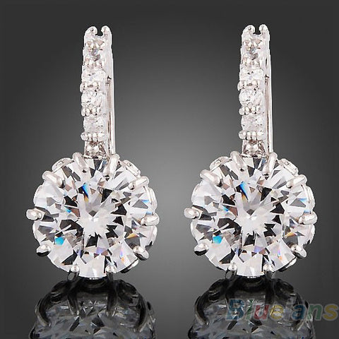 1 Pair Women white Gold Gp clear crystal jewelry stud  earrings zircon brass Material Hot High Quality 2013 02BH
