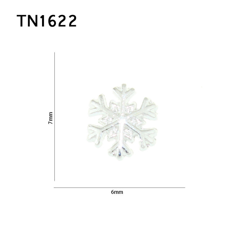 10 Pcs Silver Alloy Metal White Snowflake Design Studs Supplies For Nails Charms Christmas 3D Snow Nail Art Decorations TN1622