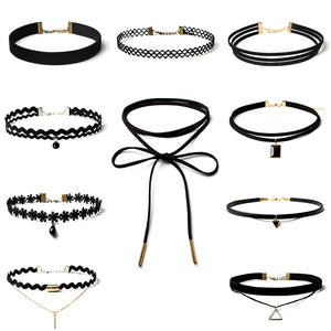 .Black Choker Necklace pack