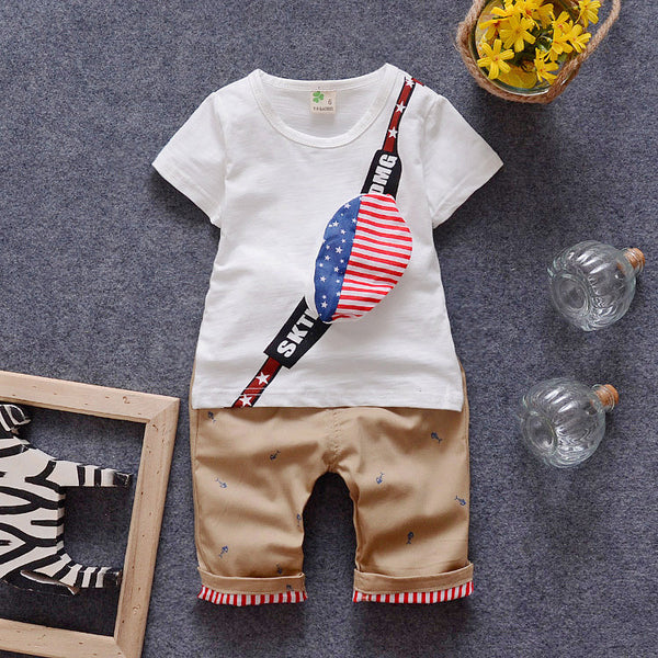 100% Cotton1-4 Y Toddler Boy Clothing Sets Children Summer Boys Clothes Suit Bag Print Baby Kids Clothing Set T-shirts+Pants