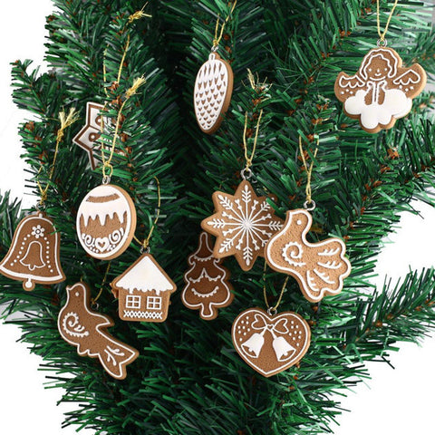11 piece polymer clay fimo christmas tree ornaments snowflake bell xmas party home christmas decor
