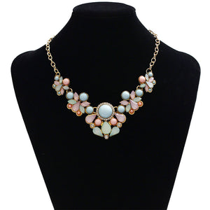 Charm Chain Lady Metal Crystal Chunky Choker Statement Pendant Necklace Jewelry