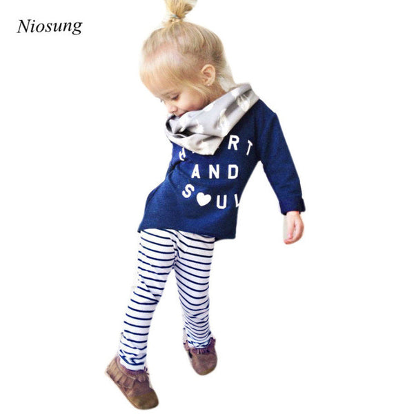 1Set Toddler Girl Outfit Clothes Letter Print Long Sleeve T-shirt Tops+Stripe Long Pants
