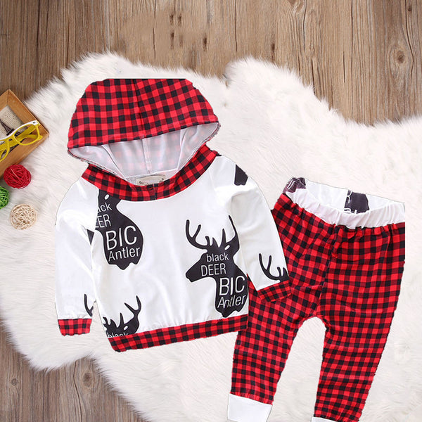 2pcs Toddler Infant Baby Boy Girl Clothes Set Antler Hoodie Tops+Pants Outfits