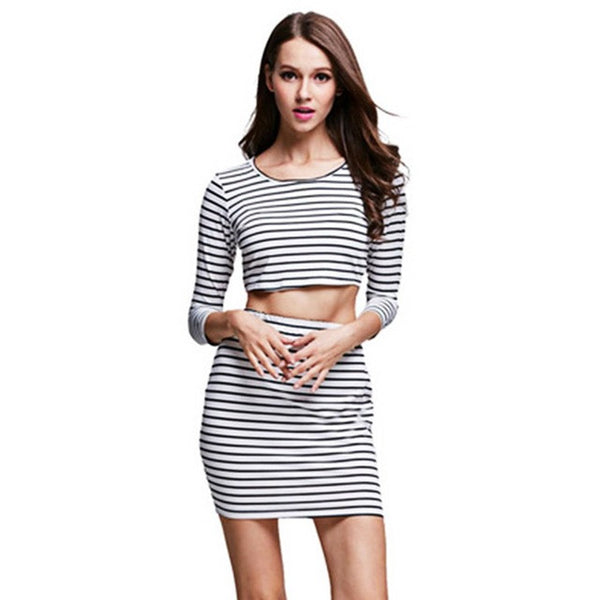 2 PCS Women Fashion Bodycon Striped Bandage Cropped Tops T Shirt and Short Mini Skirt Clothing Set Girls Beach Party Suits