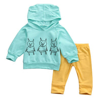 2 Pcs  Baby Boy Girl Warm Piggy Hooded Clothing Set Infant Babies Kids Hoodie Tops+Pants 2pcs Outfits Clothes Sets