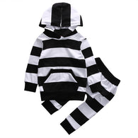 2 Pcs Baby Boy Girl Zebra Striped Hooded Clothing Set Infant Babies Kids Pocket Hoodie Tops+Pants 2pcs Outfits Clothes Sets