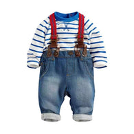 2 Pcs Baby Boy Overall Outfis Costume Set Toddler Striped T-shirt Tops+Jeans Rompers Suspenders Pants