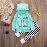2 Pcs Floral Baby Boy Girl Warm Letter Hooded Clothing Set Infant Babies Kids Hoodie Printed Tops+Stripe Pants Outfits Clothes